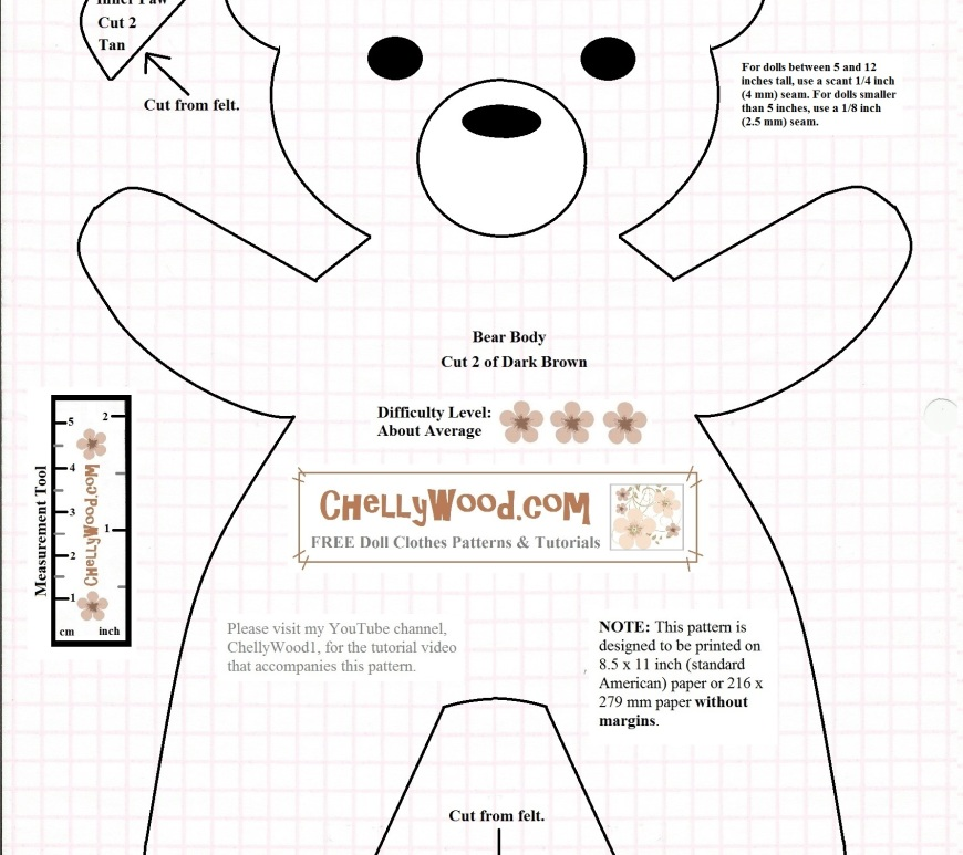 """Image shows a printable sewing pattern for a teddy bear that resembles Smokey the Bear (thus the title, """"Firefighter Bear Pattern."""" Instructions for seam allowances and how to use the pattern are printed on the pattern itself. Watermark says: """"ChellyWood.com: free printable sewing patterns for dolls of many shapes and sizes."""""""