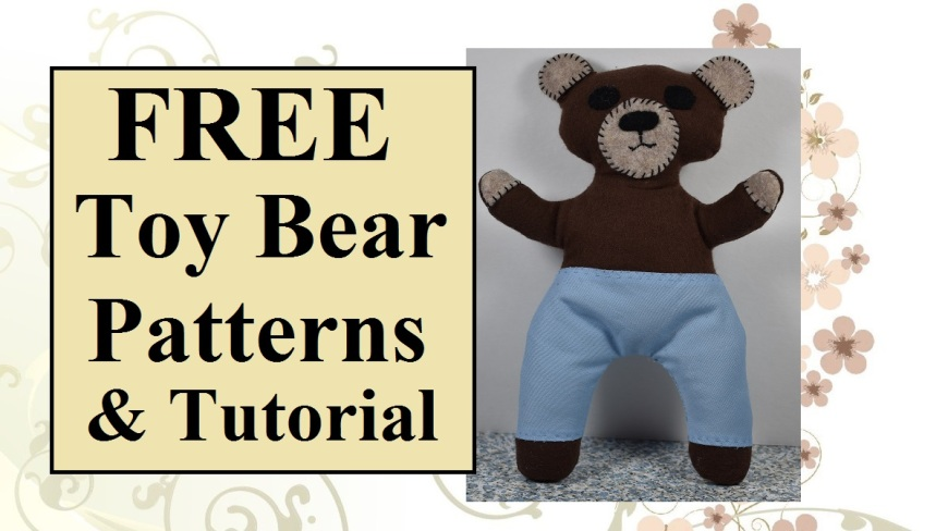 """Image shows a soft toy bear in the likeness of Smokey Bear with overlay that says """"free toy bear patterns and tutorial""""."""