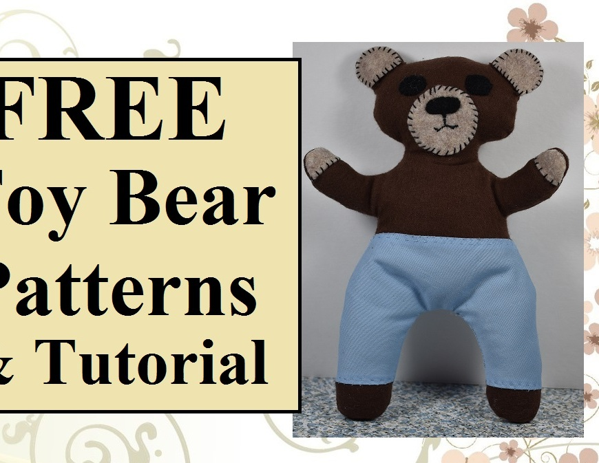"Image shows a soft toy bear in the likeness of Smokey Bear with overlay that says ""free toy bear patterns and tutorial""."