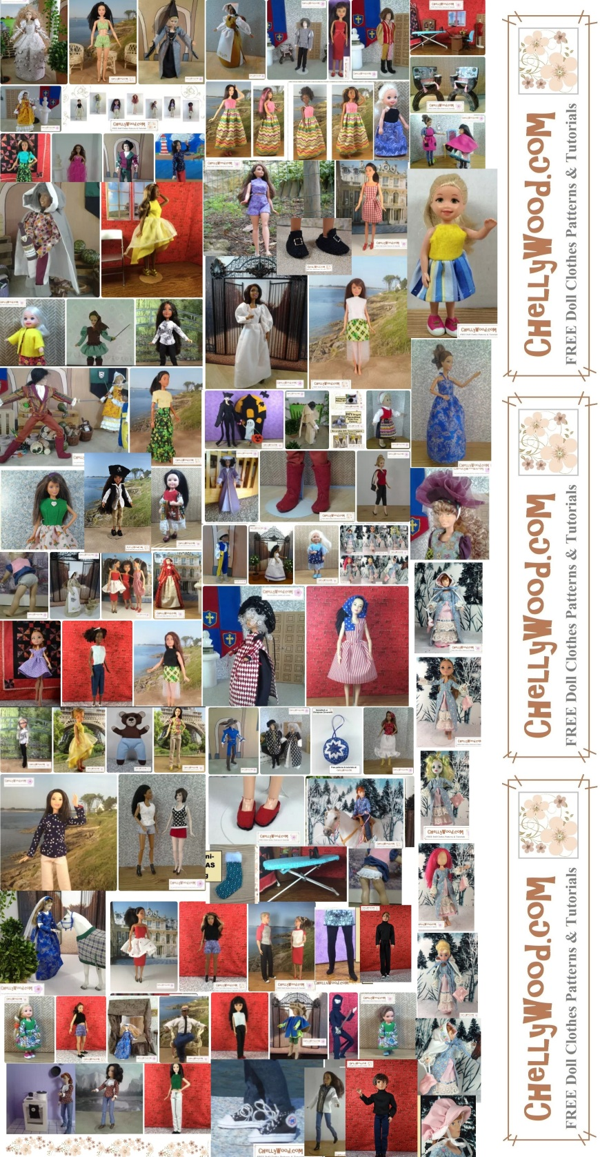 """Visit ChellyWood.com for free, printable sewing patterns for dolls of many shapes and sizes. Image shows a collage of 105 different doll outfits and sewing/craft projects designed by Chelly Wood. Each of these comes with free, printable sewing patterns (found at ChellyWood.com). Overlay says, """"ChellyWood.com: FREE doll clothes patterns and tutorials."""""""