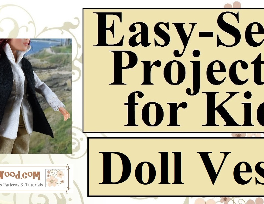 """Visit ChellyWood.com for free, printable sewing patterns for dolls of many shapes and sizes. Image shows Project MC2 doll wearing a Colonial-era 18th century costume including a tricorne hat, lace-cuffed shirt, and black felt vest. Overlay says, """"ChellyWood.com: free printable sewing patterns and tutorials."""""""