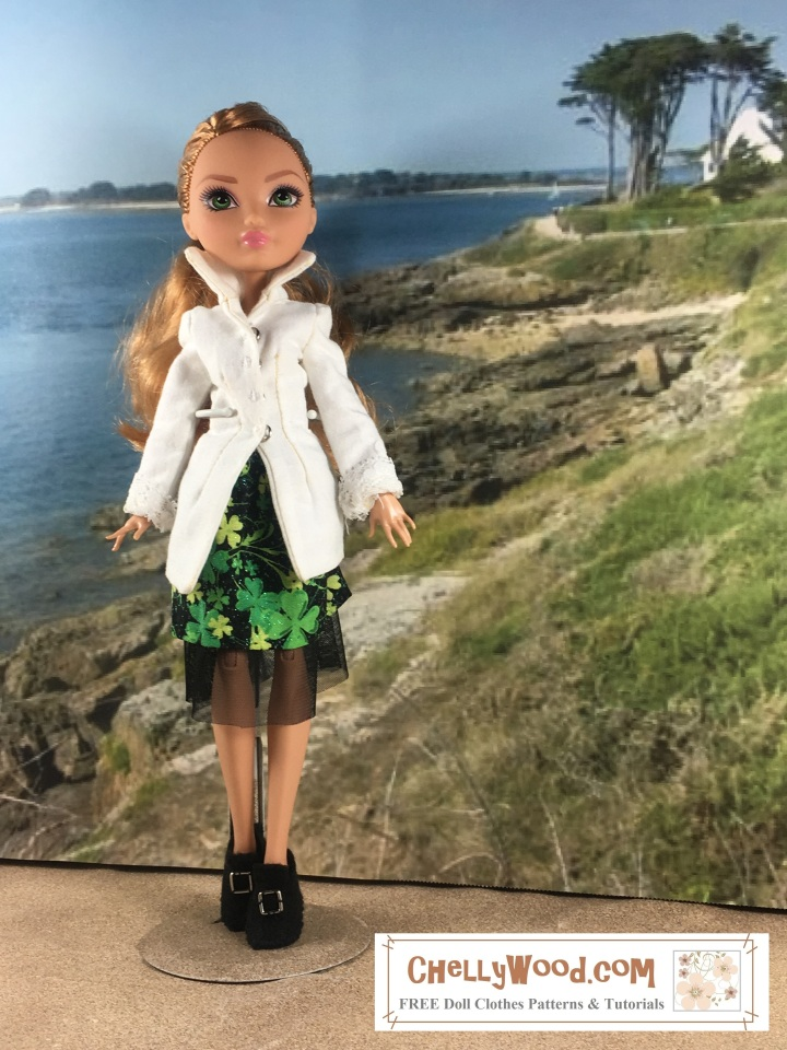 "Visit ChellyWood.com for free, printable sewing patterns for dolls of many shapes and sizes. Image shows an Ever After High doll wearing a pirate-style shirt with lace cuffs, a skirt, and Colonial-style handmade shoes. She stands in front of a seascape. Image is overlaid with the URL ChellyWood.com, and beneath the URL, it says, ""FREE doll clothes patterns and tutorials."""