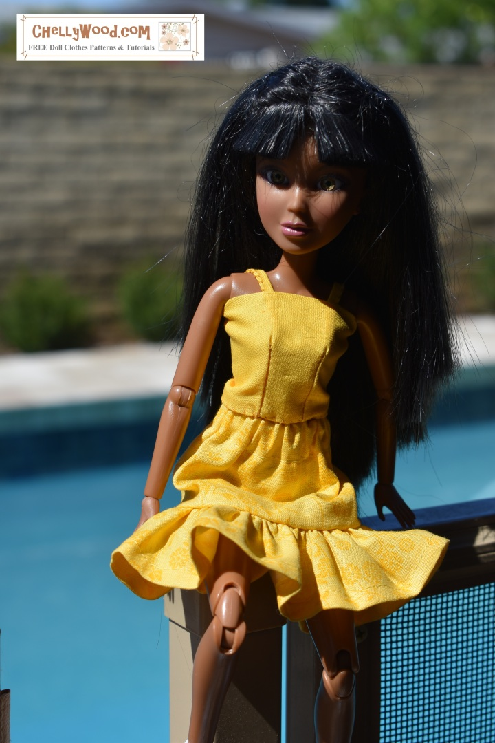 """Visit ChellyWood.com for free, printable sewing patterns and tutorials for making doll clothes for dolls of many shapes and sizes.  Image shows a Spin Master Liv doll wearing a hand-made summer top with straps and an elastic-waist sunny yellow skirt to match. Overlay says, """"Visit ChellyWood.com for free, printable sewing patterns and tutorials for making doll clothes for dolls of many shapes and sizes."""""""
