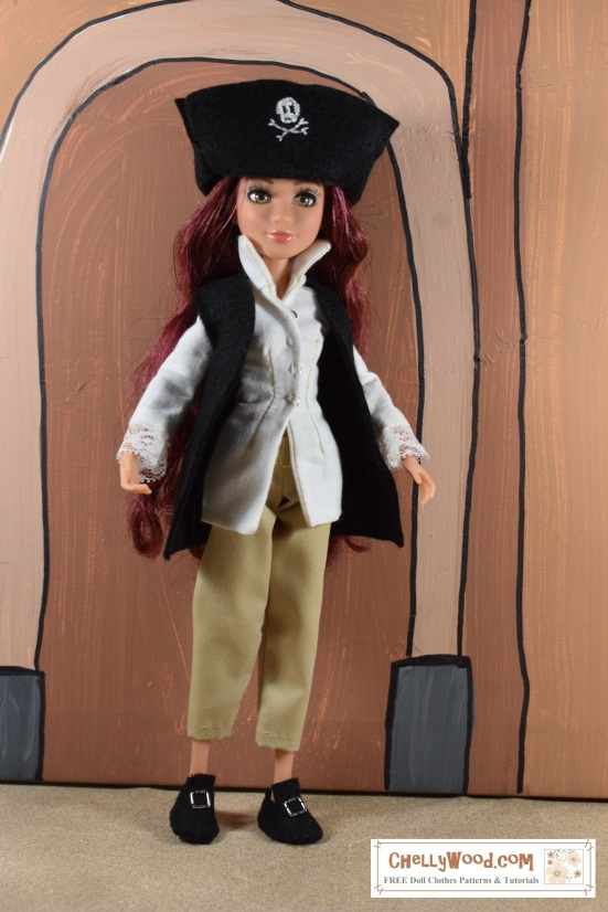 "Visit ChellyWood.com for free, printable sewing patterns for dolls of many shapes and sizes. Image shows a Project MC2 doll wearing a pirate hat (with embroidered Jolly Roger symbol), handmade pants, handmade shirt, handmade vest, and handmade Colonial-style shoes. Overlay offers the URL: chellywood.com and says, ""FREE doll clothes patterns and tutorials"""
