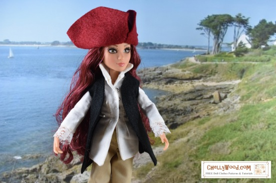 """Visit ChellyWood.com for free, printable sewing projects for dolls of many shapes and sizes. Image shows a Project MC2 doll wearing a colonial costume incuding a felt tricorne hat, a lace-cuffed long-sleeved shirt, a pair of tan colonial trousers, and a felt handmade vest. Overlay says, """"ChellyWood.com free printable sewing patterns for dolls of many shapes and sizes."""""""
