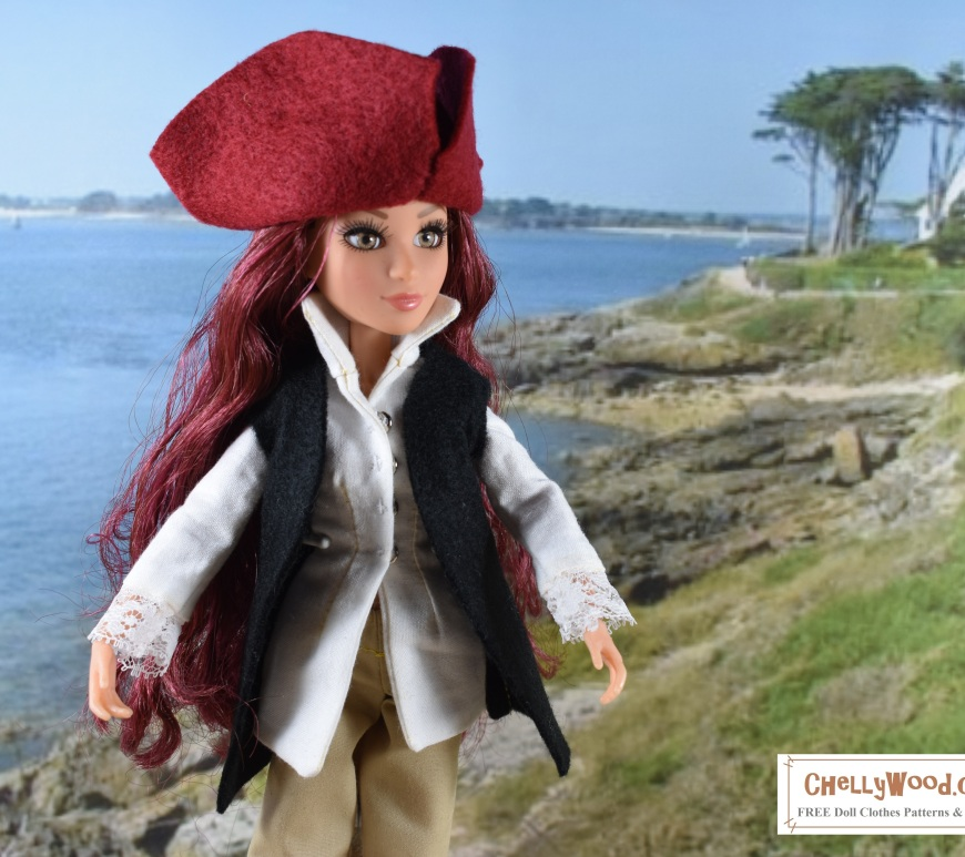 "Visit ChellyWood.com for free, printable sewing projects for dolls of many shapes and sizes. Image shows a Project MC2 doll wearing a colonial costume incuding a felt tricorne hat, a lace-cuffed long-sleeved shirt, a pair of tan colonial trousers, and a felt handmade vest. Overlay says, ""ChellyWood.com free printable sewing patterns for dolls of many shapes and sizes."""