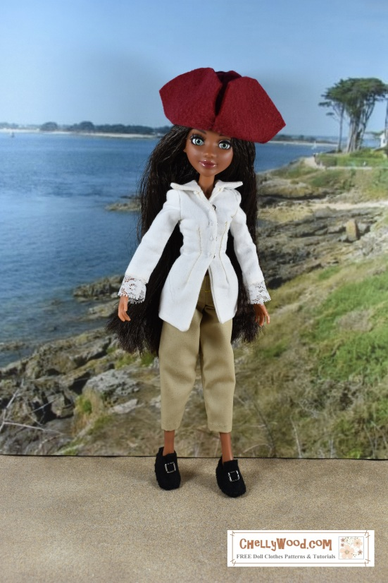 "Visit ChellyWood.com for free, printable sewing patterns for dolls of many shapes and sizes. Image shows Project Mc2 doll wearing a tricorne hat, a pirate-style shirt with lace cuffs, short trousers, and Colonial-style handmade shoes. She stands in front of a seascape. Image is overlaid with the URL ChellyWood.com, and beneath the URL, it says, ""FREE doll clothes patterns and tutorials."""