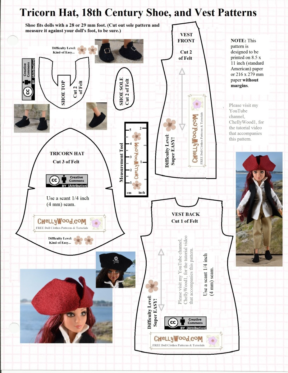 colonial hat template - free craft pattern for colonial dolls shoes