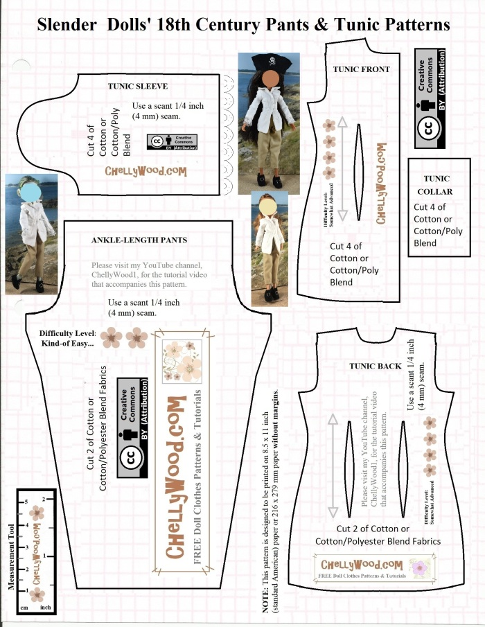 FREE printable #sewing pattern for #pirate pants @ ChellyWood.com ...