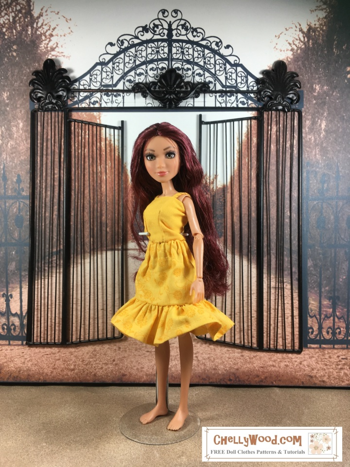 Please visit ChellyWood.com for free, printable sewing patterns for dolls of many shapes and sizes. Image shows Project MC2 doll wearing a sunny yellow summer top and skirt with elastic waist. This doll outfit's pattern is free and printable at ChellyWood.com.