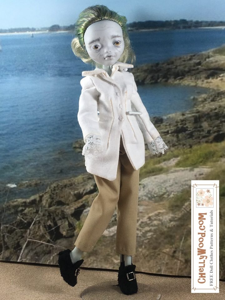 "Visit ChellyWood.com for free, printable sewing patterns for dolls of many shapes and sizes. Image shows a Monster High doll wearing a pirate-style shirt with lace cuffs, trousers, and Colonial-style handmade shoes. She stands in front of a seascape. Image is overlaid with the URL ChellyWood.com, and beneath the URL, it says, ""FREE doll clothes patterns and tutorials."""