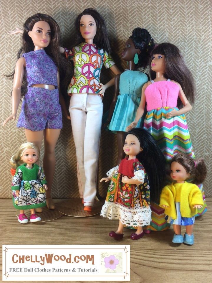 Visit ChellyWood.com for FREE printable doll clothes patterns for dolls of many shapes and sizes. Image shows Tall Barbie, Curvy Barbie, Petite Barbie, Skipper, Kelly Doll, Chelsea Doll, and Polly Pocket all wearing handmade doll clothes. The patterns for each outfit shown in the image comes from ChellyWood.com, which is known for its FREE printable sewing patterns (and tutorials) for dolls of many shapes and sizes.