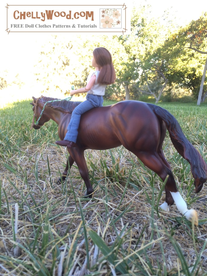 "Visit ChellyWood.com for free, printable sewing patterns for dolls of many shapes and sizes. Image shows the 7"" Breyer doll riding Don't Look Twice from the Roxy Mold. The background shows trees in sunlight with a grassy foreground. Overlay says, ""ChellyWood.com: free printable sewing patterns and tutorials for dolls of many shapes and sizes."""