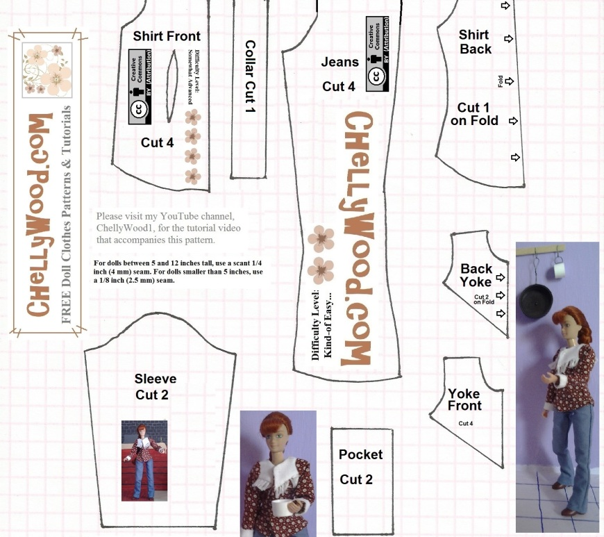 Image shows an eight-piece pattern set, designed by Chelly Wood, to be used for sewing a Western shirt and a pair of elastic-waist jeans for an eight inch doll, like the Breyer riders, the eight-inch World of Love Dolls from Hasbro, and Mattel's Stacie dolls. On the pattern, it says that there are instructional videos showing how to make the clothes on a YouTube channel called ChellyWood1, but you can also see these videos at ChellyWood.com.