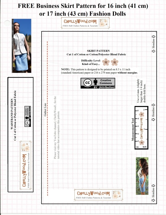 """Please visit ChellyWood.com for free, printable sewing patterns for dolls of many shapes and sizes. Image shows a printable paper pattern for a business-type skirt that fits 16-inch or 17-inch fashion dolls like the new 17"""" Barbie, 16-inch Tonner dolls, and 17 inch FibreCraft dolls. It includes a waistband and suggests visiting the YouTube channel ChellyWood1 for a free tutorial video showing how to stitch this doll's skirt together. Overlay includes the URL ChellyWood.com and a """"Creative Commons Attribution"""" watermark. It suggests by way of two pink flowers, that this is a fairly easy pattern to sew."""