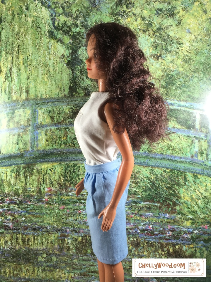 "Image shows a Hollywood Starlette 17-inch doll wearing a handmade shirt and handmade skirt. She stands in front of an enlarged poster of Monet's green bridge from ""Bridge Over a Pond of Water Lillies."" Overlay says, ChellyWood.com: free printable patterns and tutorials."
