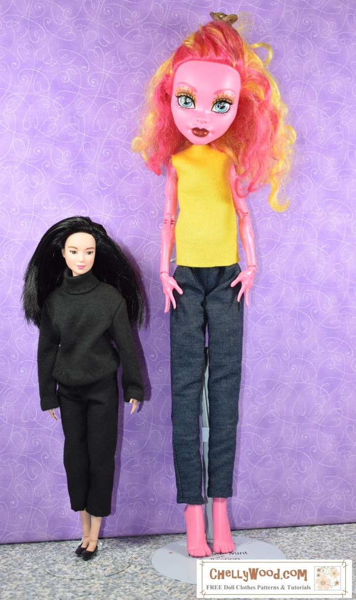 Image shows a Freak du Chic Monster High doll standing next to a Barbie doll, to indicate the difference in their sizes.