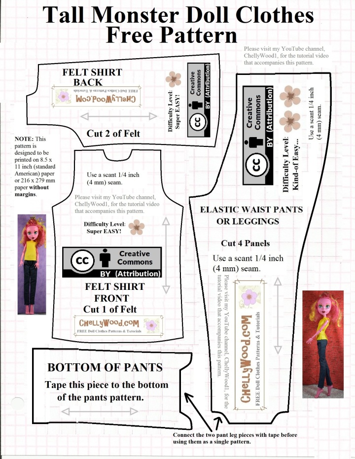 "Image shows a printable paper pattern for sewing a doll clothes outfit for the 17.5-inch ""Freak du Chic"" Monster High dolls (or dolls of a similar size and shape). This pattern includes a sleeveless shirt pattern and a jeans pattern."