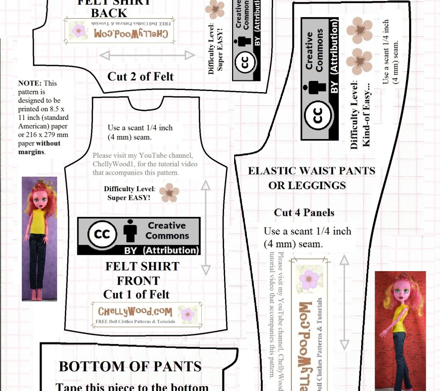 """Image shows a printable paper pattern for sewing a doll clothes outfit for the 17.5-inch """"Freak du Chic"""" Monster High dolls (or dolls of a similar size and shape). This pattern includes a sleeveless shirt pattern and a jeans pattern."""