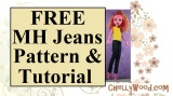Sew a pair of 17-inch #MH #dolls' jeans w/FREE #DollClothes pattern @ ChellyWood.com