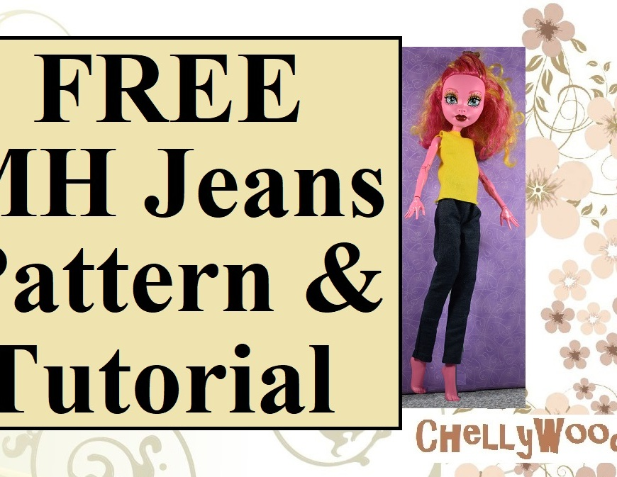 "Image shows a 17-inch Freak du Chic Gooliope doll wearing handmade jeans and a handmade shirt. The overlay says, ""FREE MH jeans pattern and tutorial"" with the URL of a website offered: ChellyWood.com. The entire layout sits atop a rectangular background of swirls and ashy-pink flowers."