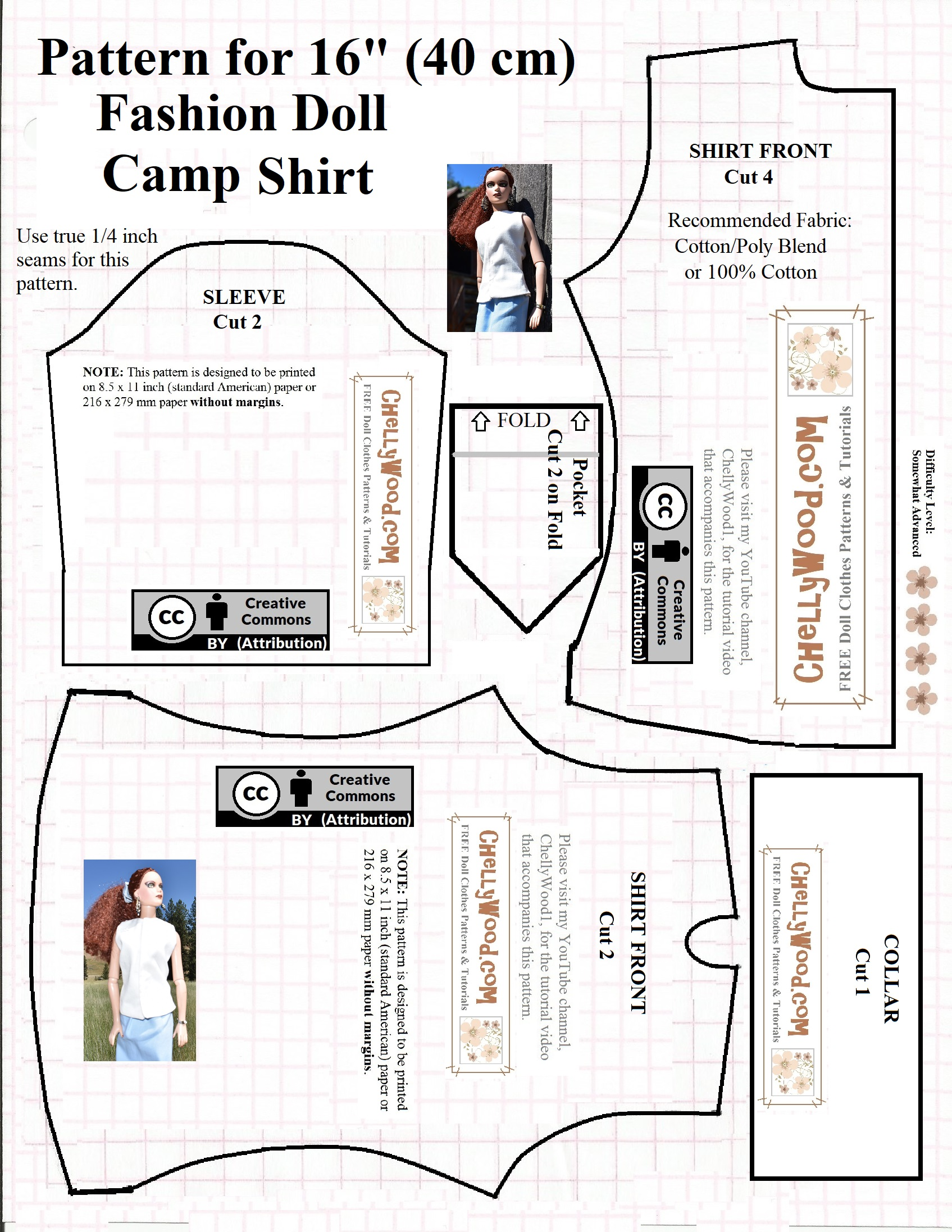 Free printable sewing pattern for 16 or 17 dolls camp shirt if youre not sure what to do after you click on that page just re visit my how to print patterns tutorial which is in the side margin jeuxipadfo Images