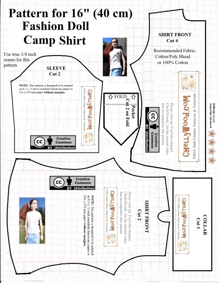 """Image shows the printable paper pattern for a camp shirt that fits 16-inch and 17-inch dolls like the Tonner doll, FibreCraft dolls, and other 16-inch dolls and 17-inch fashion dolls. Overlay says """"ChellyWood.com: free printable sewing patterns for dolls of many shapes and sizes."""""""