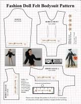 DIY #felt bodysuit for your #fashion #dolls with FREE pattern @ChellyWood.com