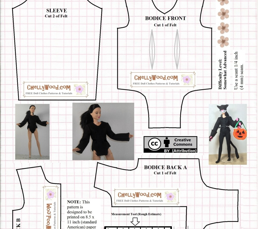 Visit ChellyWood.com for free, printable sewing patterns to fit dolls of many shapes and sizes. Image is a printable pattern for a body suit / bodysuit that fits most 11.5 inch fashion dolls like Barbie, Momoko, Liv dolls, and similar-sized dolls. The doll is shown wearing the body suit as part of a Halloween cat costume and also as a simple bodysuit like a gymnast might wear.