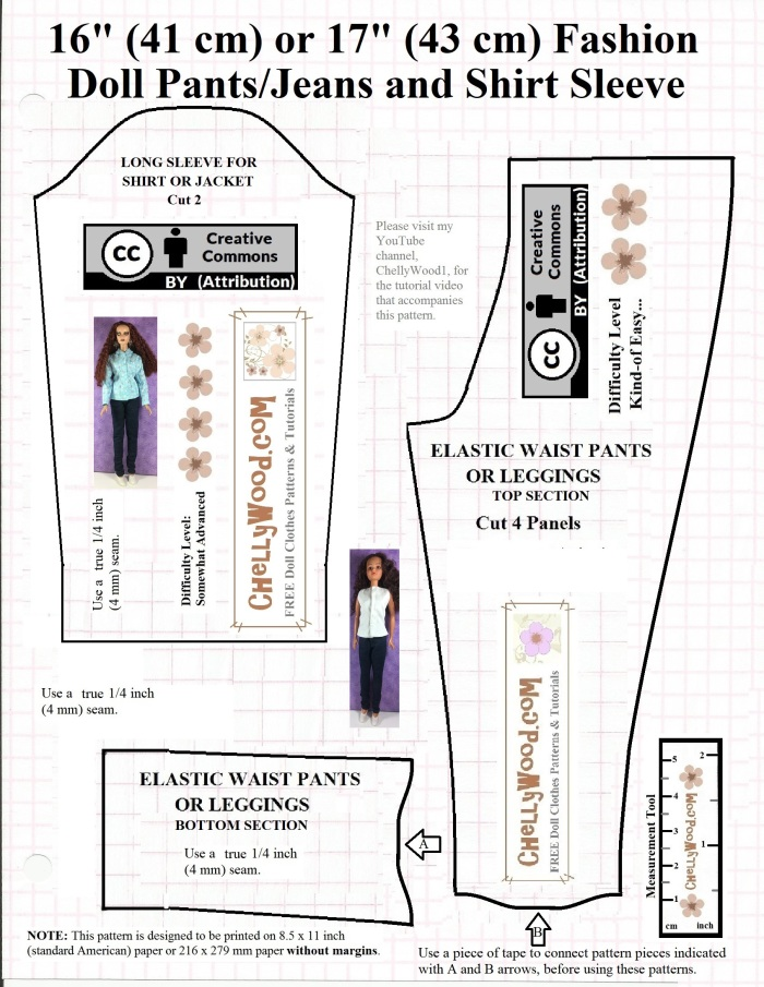 """Please visit ChellyWood.com for free, printable sewing patterns for dolls of many shapes and sizes. Image shows one sleeve and a complete pants pattern for 17 inch dolls like Mattel's Endless Hair 17-inch Barbie, 17"""" Tonner dolls, 17"""" FibreCraft Dolls, and 17 inch BJD's (ball jointed dolls)."""