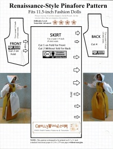 Visit ChellyWood.com for FREE printable sewing patterns and tutorials for dolls of many shapes and sizes. Image shows a Sewing Pattern for Fashion Dolls' Pilgrim Pattern FREE (Fits Barbie and other 11.5 inch 1/6 scale dolls).