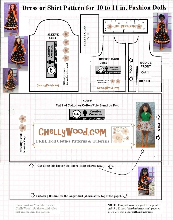 """Please visit ChellyWood.com for free, printable sewing patterns for dolls of many shapes and sizes. Image shows a black-line paper pattern to print from home. The pattern can be sewn to fit a 10"""" fashion doll like Skipper, Momoko, Disney's Arial doll, and Petite Barbie."""
