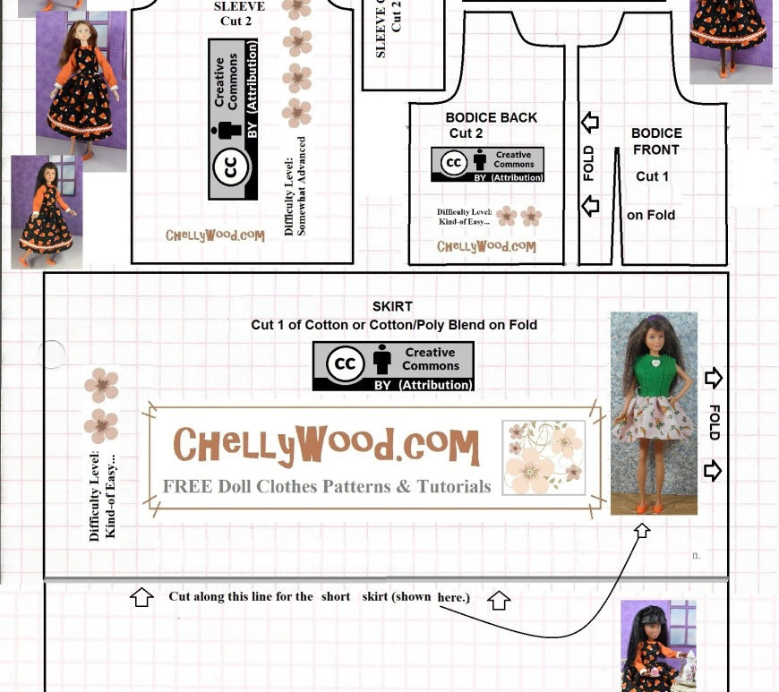"Please visit ChellyWood.com for free, printable sewing patterns for dolls of many shapes and sizes. Image shows a black-line paper pattern to print from home. The pattern can be sewn to fit a 10"" fashion doll like Skipper, Momoko, Disney's Arial doll, and Petite Barbie."
