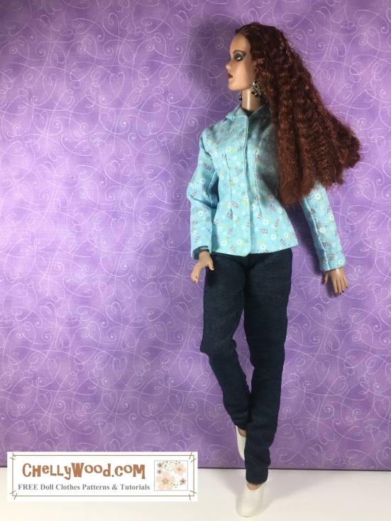 Visit ChellyWood.com for free, printable sewing patterns to fit dolls of many shapes and sizes. Image shows a 16-inch Tonner (trademarked) doll wearing handmade doll clothes, including a floral long-sleeved shirt with a collar and a pair of elastic-waist stretch-denim jeans. She poses against a purple wall-papered wall with swirly print. One knee is bent, with her foot propped against the wall. The doll's left hand rests against the wall, while her right hand lays against her bent knee. She looks casually to her right. At her feet is a watermark: ChellyWood.com: free printable sewing patterns for dolls of many shapes and sizes.