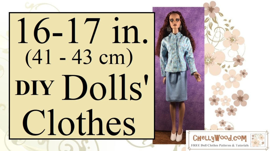 """Visit ChellyWood.com for free, printable doll clothes patterns to fit dolls of many shapes and sizes. Image shows a 16-inch Tonner doll wearing a hand-made business suit, which includes an elegant business-style jacket with darts that create an hourglass figure for the doll. Her jacket has long sleeves, a collar, and it buttons up the front. Its fabric is printed with tiny red and white floral images. The business skirt is a simple blue skirt that is approximately knee length. She wears white pumps and stands before a purple fabric backdrop. Overlay says, """"16 to 17 inch (41 centimeters to 43 centimeters) D I Y dolls' clothes"""" and offers the URL: ChellyWood.com followed by the motto: FREE printable sewing patterns for dolls of many shapes and sizes."""