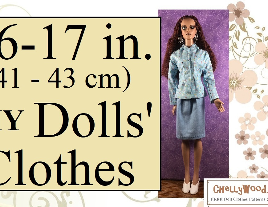 "Visit ChellyWood.com for free, printable doll clothes patterns to fit dolls of many shapes and sizes. Image shows a 16-inch Tonner doll wearing a hand-made business suit, which includes an elegant business-style jacket with darts that create an hourglass figure for the doll. Her jacket has long sleeves, a collar, and it buttons up the front. Its fabric is printed with tiny red and white floral images. The business skirt is a simple blue skirt that is approximately knee length. She wears white pumps and stands before a purple fabric backdrop. Overlay says, ""16 to 17 inch (41 centimeters to 43 centimeters) D I Y dolls' clothes"" and offers the URL: ChellyWood.com followed by the motto: FREE printable sewing patterns for dolls of many shapes and sizes."