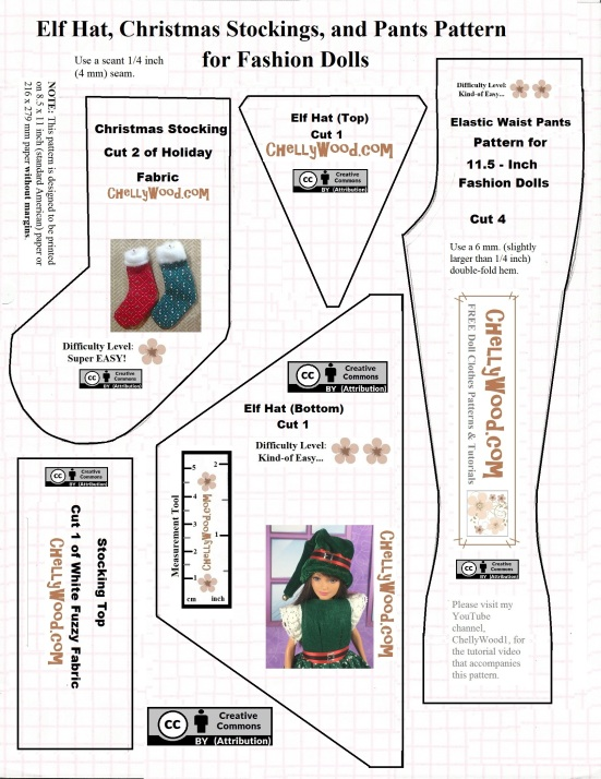 """Image shows a lined, printable sewing pattern for each of the following: Barbie doll pants, a Barbie-sized elf hat, and a Barbie-sized (1:6 scale) Christmas stocking. Overlay offers the URL """"ChellyWood.com"""" for patterns and tutorials."""