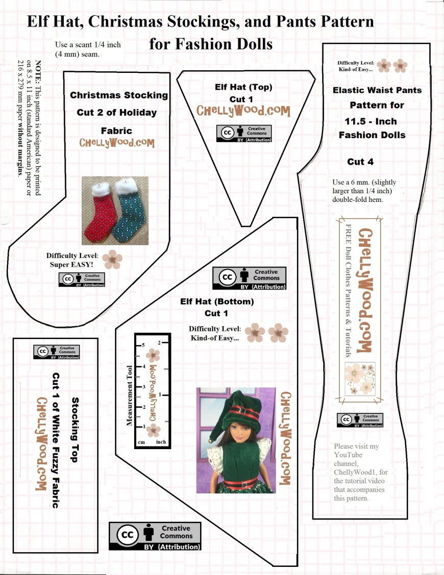 "Image shows a lined, printable sewing pattern for each of the following: Barbie doll pants, a Barbie-sized elf hat, and a Barbie-sized (1:6 scale) Christmas stocking. Overlay offers the URL ""ChellyWood.com"" for patterns and tutorials."