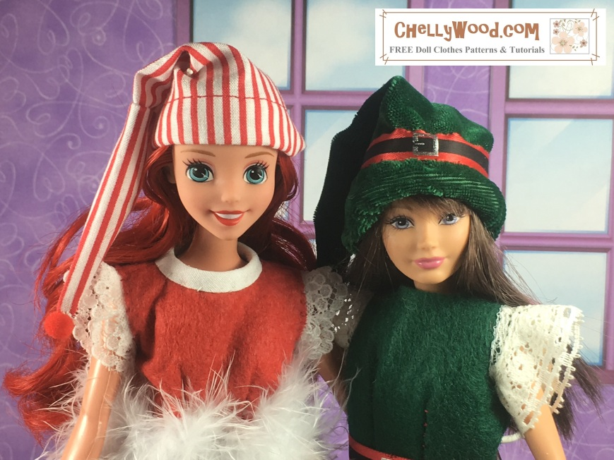 "Image shows Skipper and Disney Princess Ariel dolls wearing hand-made Santa hats (or elf hats). Overlay says, ""ChellyWood.com: Free printable sewing patterns for dolls of many shapes and sizes."""
