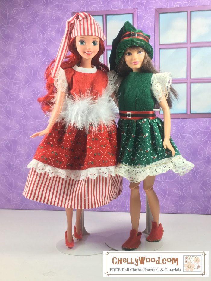 """Image shows Skipper and Ariel (the Disney Princess doll) wearing hand-made doll dresses, which are made of felt coupled with holiday fabrics that have very small prints. Overlay says, """"ChellyWood.com: FREE printable sewing patterns and tutorials."""""""