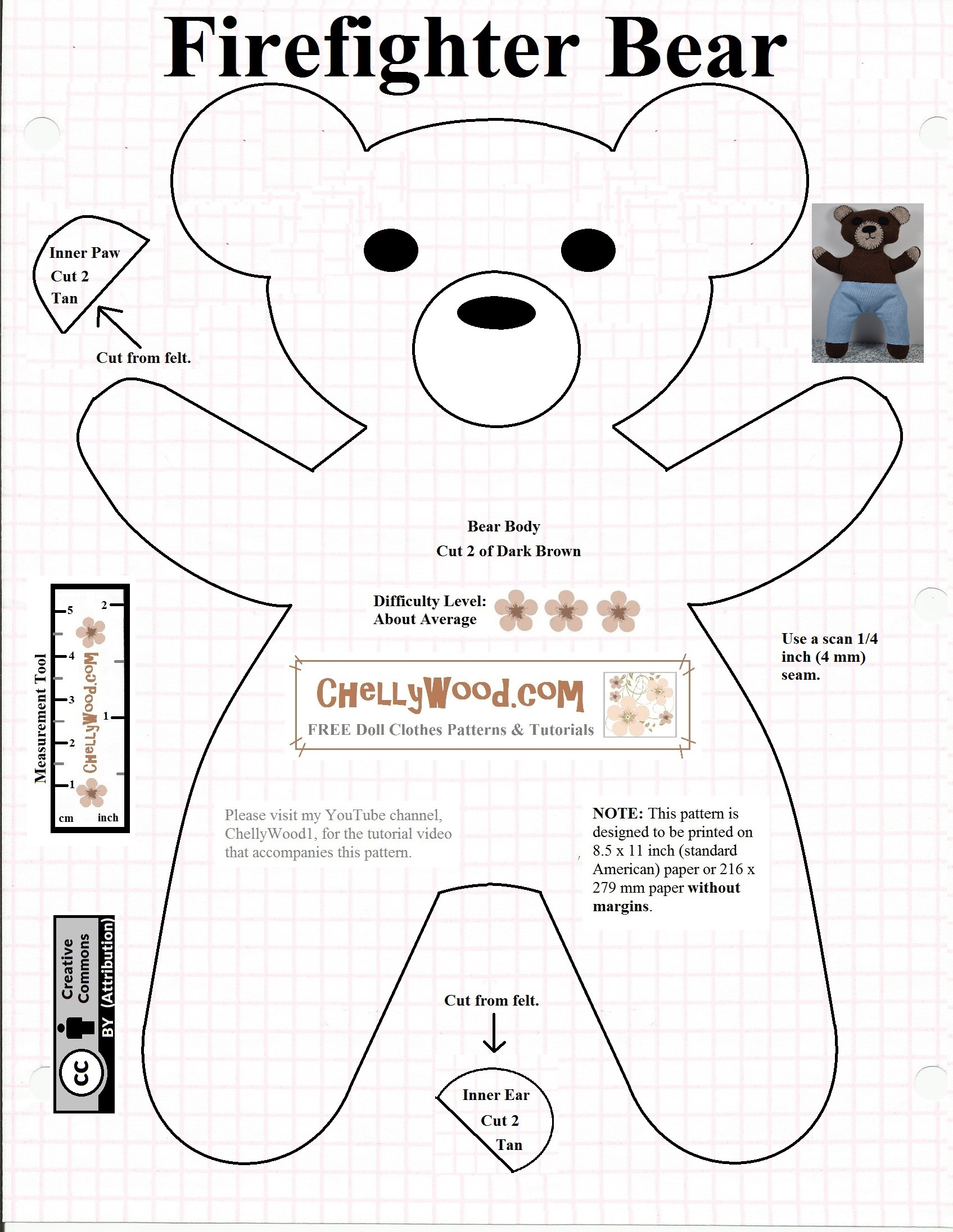 graphic about Free Teddy Bear Patterns Printable named Sew a #undergo with cost-free #sewing practice @