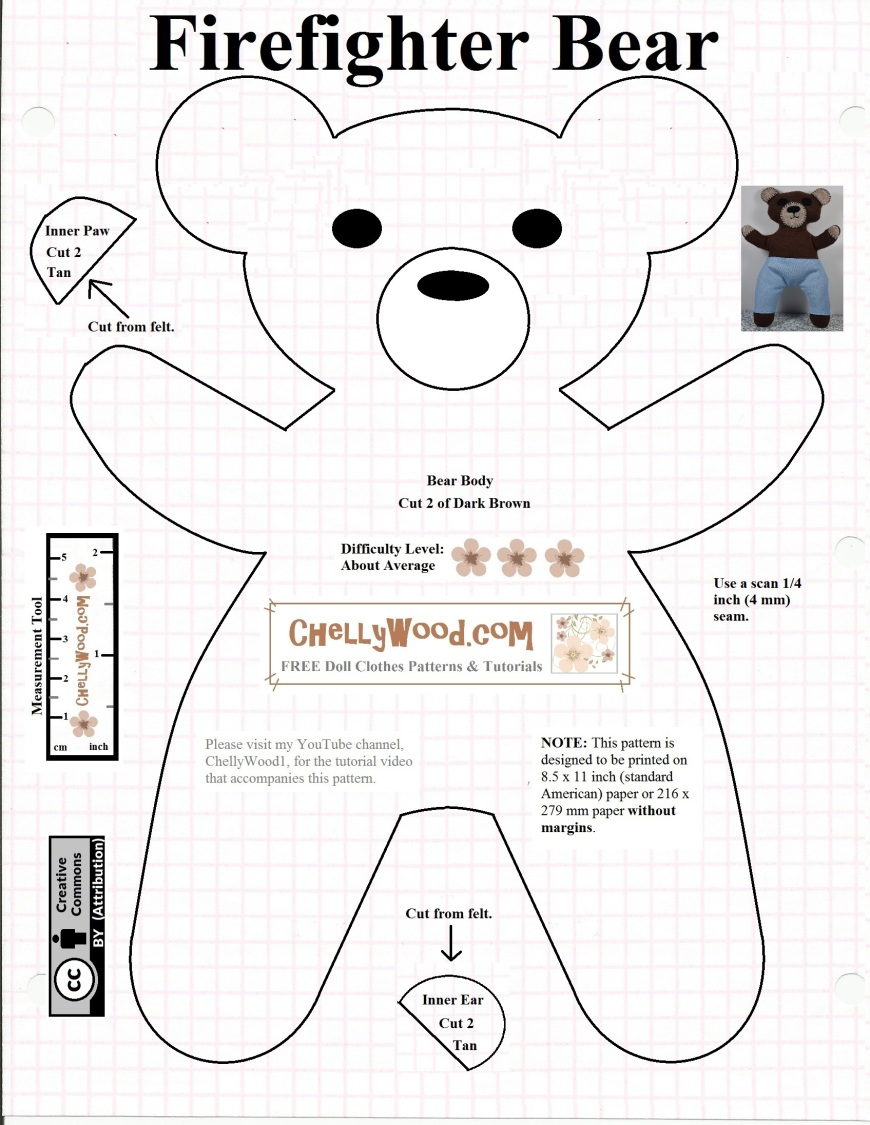 Image shows a printable sewing pattern for making a Smokey-like bear out of fabric. Image overlay offers the url ChellyWood.com
