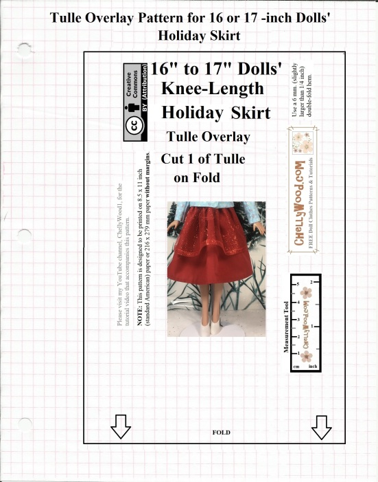 """Image shows a free, printable sewing pattern for the tulle overlay that goes with a flowing red holiday skirt designed to fit 16"""" and 17"""" dolls as a knee-length flowing skirt. This free printable sewing pattern is designed by Chelly Wood. Her website offers free, printable sewing patterns for dolls of many shapes and sizes. The pattern is marked with a Creative Commons Attribution symbol, which means you may copy it, post it, pin it, tweet it, and share it via various social media platforms, as long as you tell where you got the free pattern."""