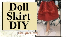 "Image shows a 17"" Tonner doll from the waist down, wearing a hand-made holiday skirt in glittering red tulle and cotton/polyester fabrics. She appears to be stepping in snow in high heels. Overlay says, ""Doll Skirt DIY"" and offers the URL: ChellyWood.com"