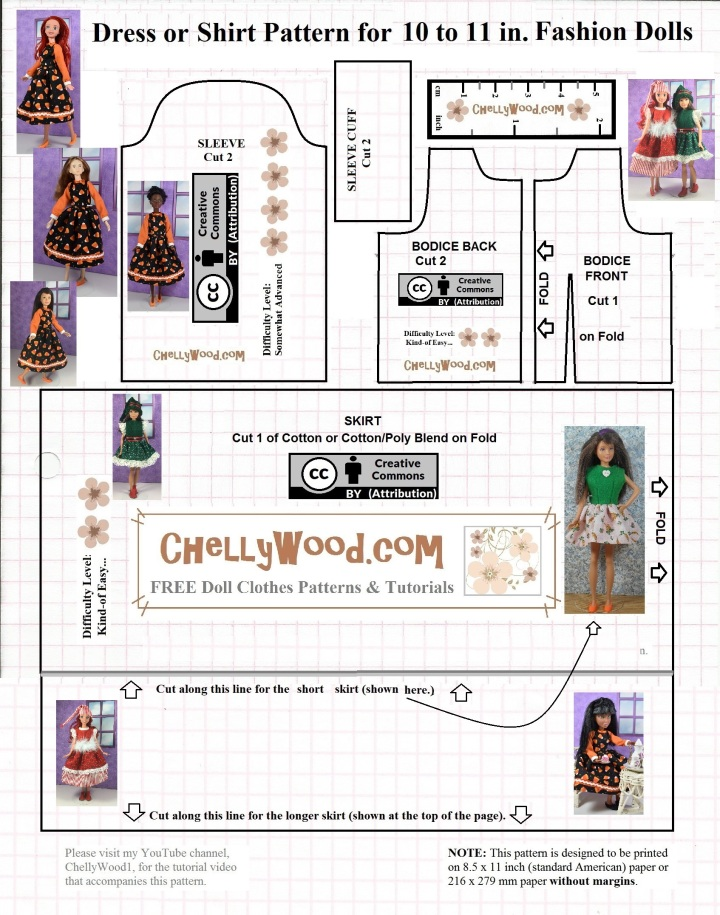 "Please visit ChellyWood.com for free, printable sewing patterns for dolls of many shapes and sizes. Image shows a printable pattern for a holiday dress for 10 inch or 11 inch fashion dolls like Skipper Doll, Petite Barbie, Project MC2 dolls, 10 inch Disney Princess Dolls, Stacie Dolls, Momoko Dolls, and many other 10"" or 11"" dolls"