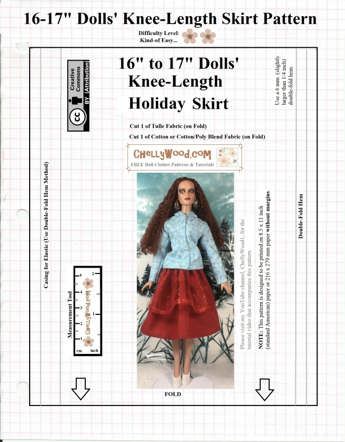 "Image shows a free, printable sewing pattern for a flowing red holiday skirt designed to fit 16"" and 17"" dolls as a knee-length flowing skirt. This free printable sewing pattern is designed by Chelly Wood. Her website offers free, printable sewing patterns for dolls of many shapes and sizes. The pattern is marked with a Creative Commons Attribution symbol, which means you may copy it, post it, pin it, tweet it, and share it via various social media platforms, as long as you tell where you got the free pattern. This pattern is designed to fit Tonner 16"" or 17"" fashion dolls, the Barbie Endless Hair Kingdom 17 inch fashion doll, FibreCraft 17"" dolls, and as a long skirt, it also fits curvy dolls like Lammily and Curvy Barbie dolls."
