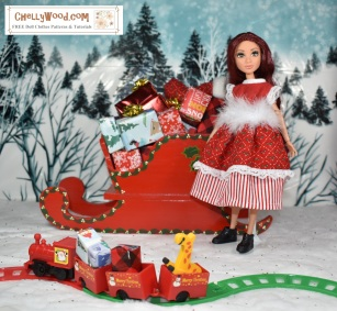 Click here to access all the patterns and tutorials you'll need to make this outfit: https://chellywood.com/2017/12/25/free-holiday-sewing-patterns-for-disney-princess-dolls-chellywood-com/