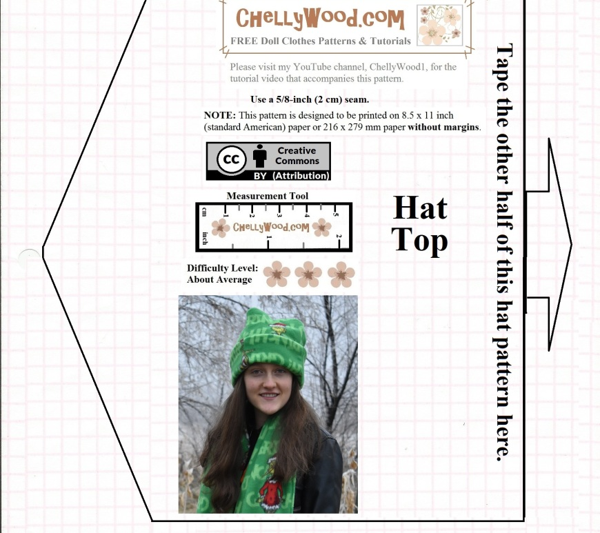 """Image shows a lovely young lady wearing a hand-made stocking cap, sewn from polar fleece. the image is embedded within a simple FREE printable sewing pattern that is simply called, """"Polar fleece stocking cap free patterns"""" and on the pattern itself, it says, """"folded hat band"""". The pattern is marked with the Creative Commons Attribution symbol. It also offers a measurement tool for easy printing. The website where this pattern comes from also offers free tutorials showing how to make the polar fleece stocking cap (also known as a tuque / touque or beanie hat). There is also an accompanying tutorial at ChellyWood.com showing how to make the polar fleece scarf that accompanies this hat pattern."""