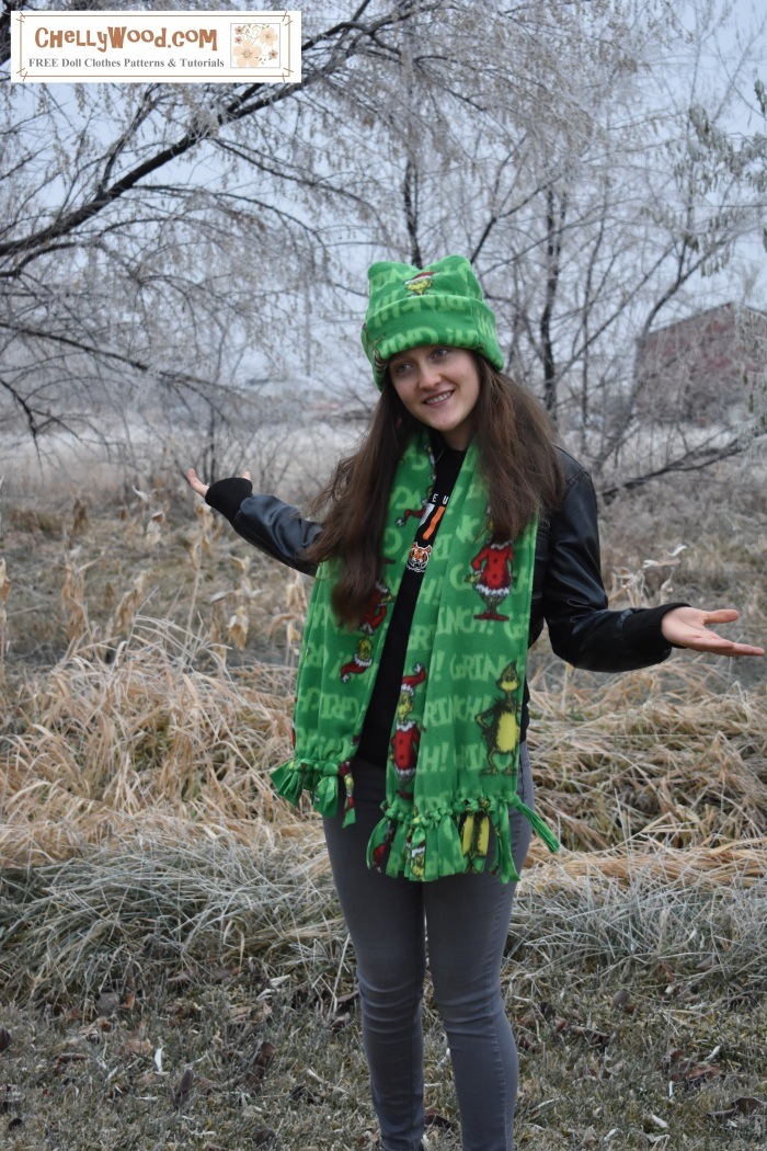 """Image shows a lovely young woman wearing a handmade polar fleece hat and a handmade polar fleece scarf. Overlay says """"chellywood.com FREE printable sewing patterns and tutorials"""" and offers the url ChellyWood.com (a website for tutorials and free printable downloadable sewing patterns)."""