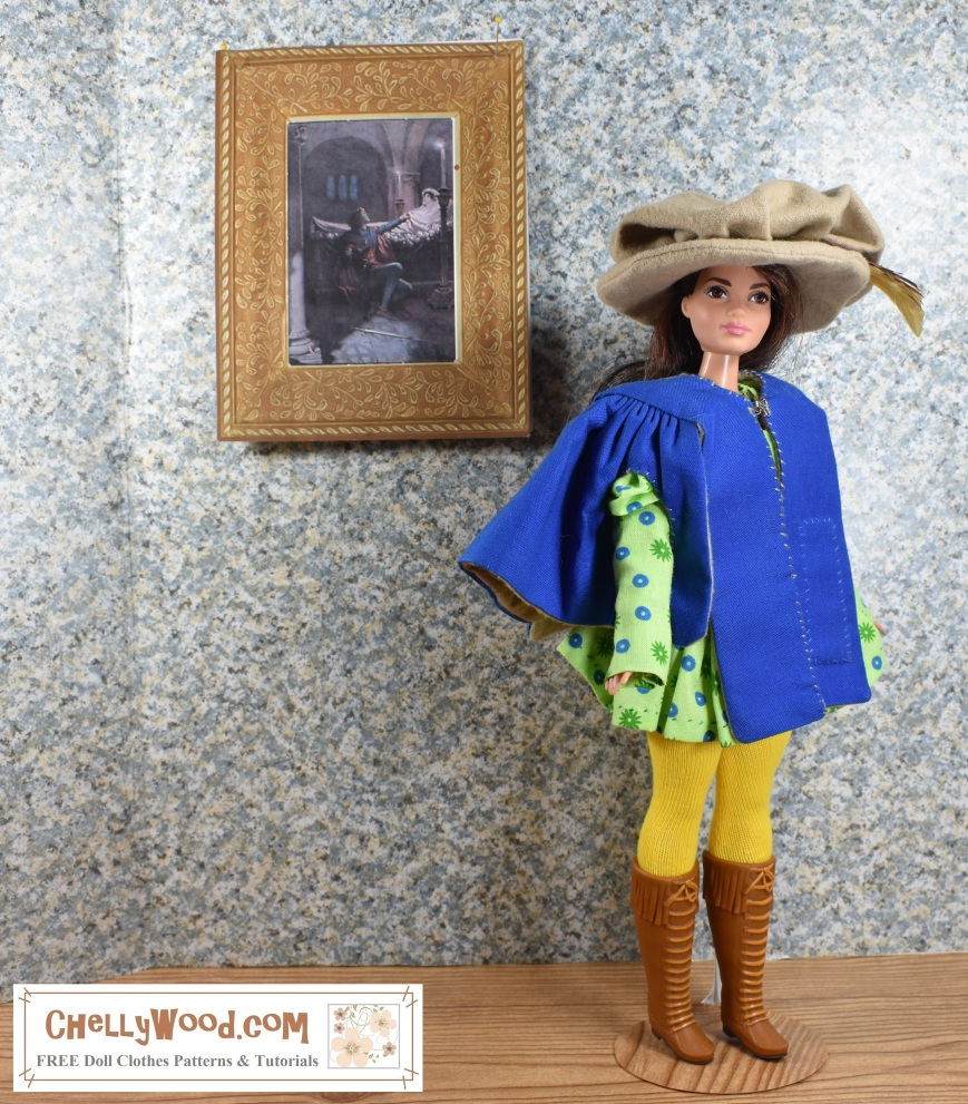 """Visit ChellyWood.com for FREE printable sewing patterns for dolls of many shapes and sizes. Image shows Mattel's """"Curvy"""" Barbie wearing a musketeer-style outfit, complete with Renaissance coat, feathered hat, tights, and laced-up boots. She stands in an art gallery with a painting of Romeo and Juliet on the spackled wall behind her. Overlay offers the website where the FREE printable patterns for this outfit can be found: ChellyWood.com"""